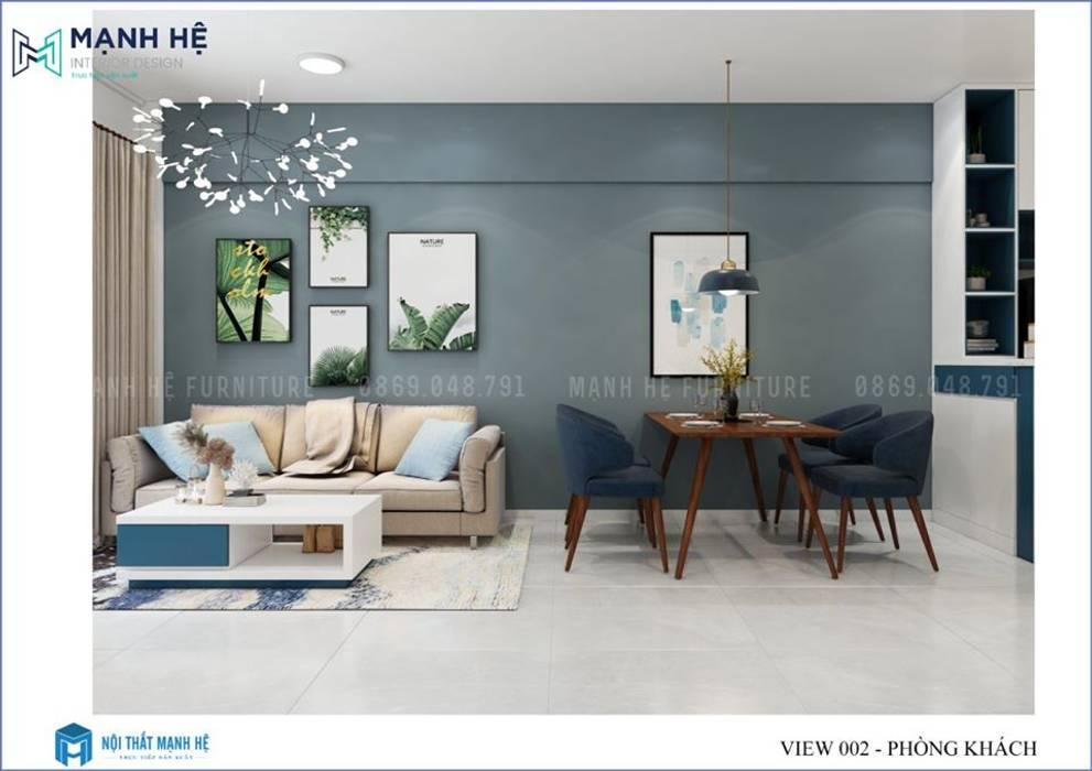 Ghế sofa cùng bàn trà đơn giản trở nên nổi bật bới chiếc thảm trải sàn làm trung tâm bởi Công ty TNHH Nội Thất Mạnh Hệ Hiện đại
