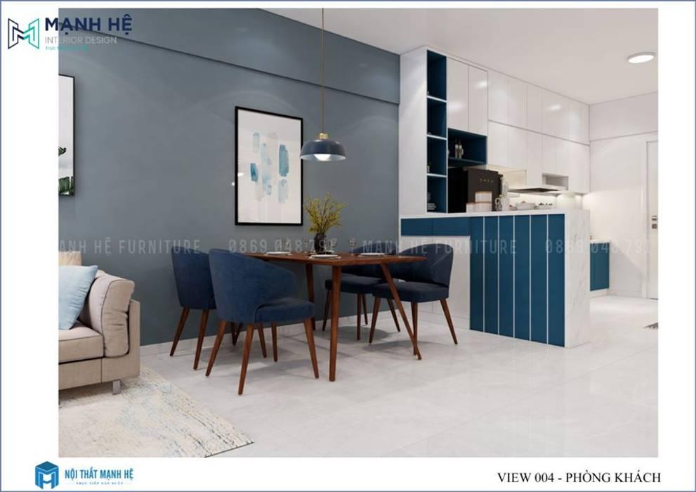 Bộ bàn ăn 4 ghế có sự kết hợp giữa vải nhung và tone màu gỗ công nghiệp nâu sậm Công ty TNHH Nội Thất Mạnh Hệ Phòng khách