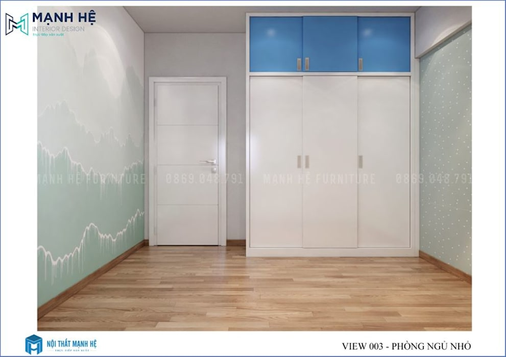 Tủ quần áo gỗ công nghiệp của lùa cho không gian phòng bé gọn gàng bởi Công ty TNHH Nội Thất Mạnh Hệ Hiện đại