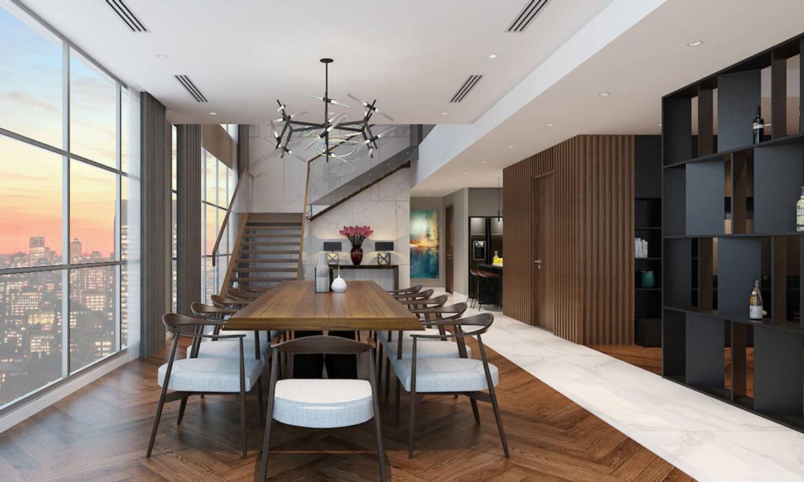 Thiết kế nội thất căn hộ Penthouse hiện đại Bluesky do CEEB Architects thiết kế. CÔNG TY THIẾT KẾ NHÀ ĐẸP SANG TRỌNG CEEB Phòng ăn phong cách hiện đại