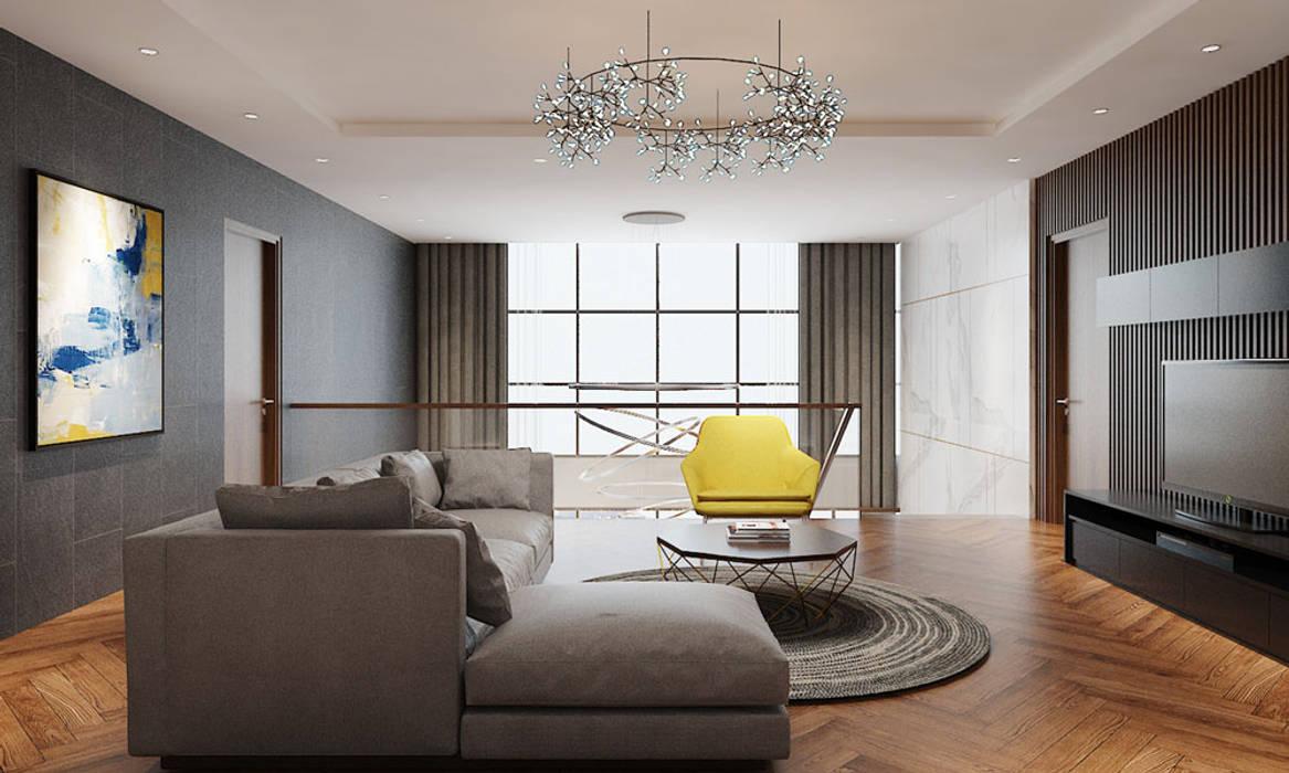 Thiết kế nội thất căn hộ Penthouse hiện đại Bluesky do CEEB Architects thiết kế. CÔNG TY THIẾT KẾ NHÀ ĐẸP SANG TRỌNG CEEB Phòng giải trí phong cách hiện đại