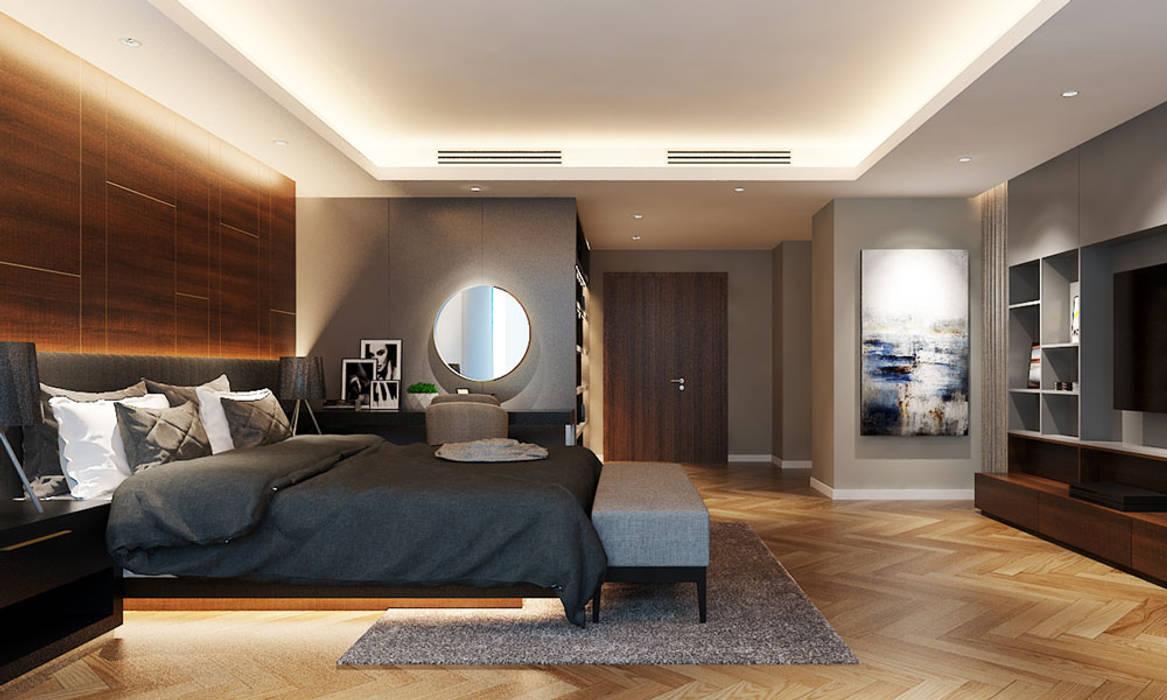 Thiết kế nội thất căn hộ Penthouse hiện đại Bluesky do CEEB Architects thiết kế. CÔNG TY THIẾT KẾ NHÀ ĐẸP SANG TRỌNG CEEB Phòng ngủ phong cách hiện đại
