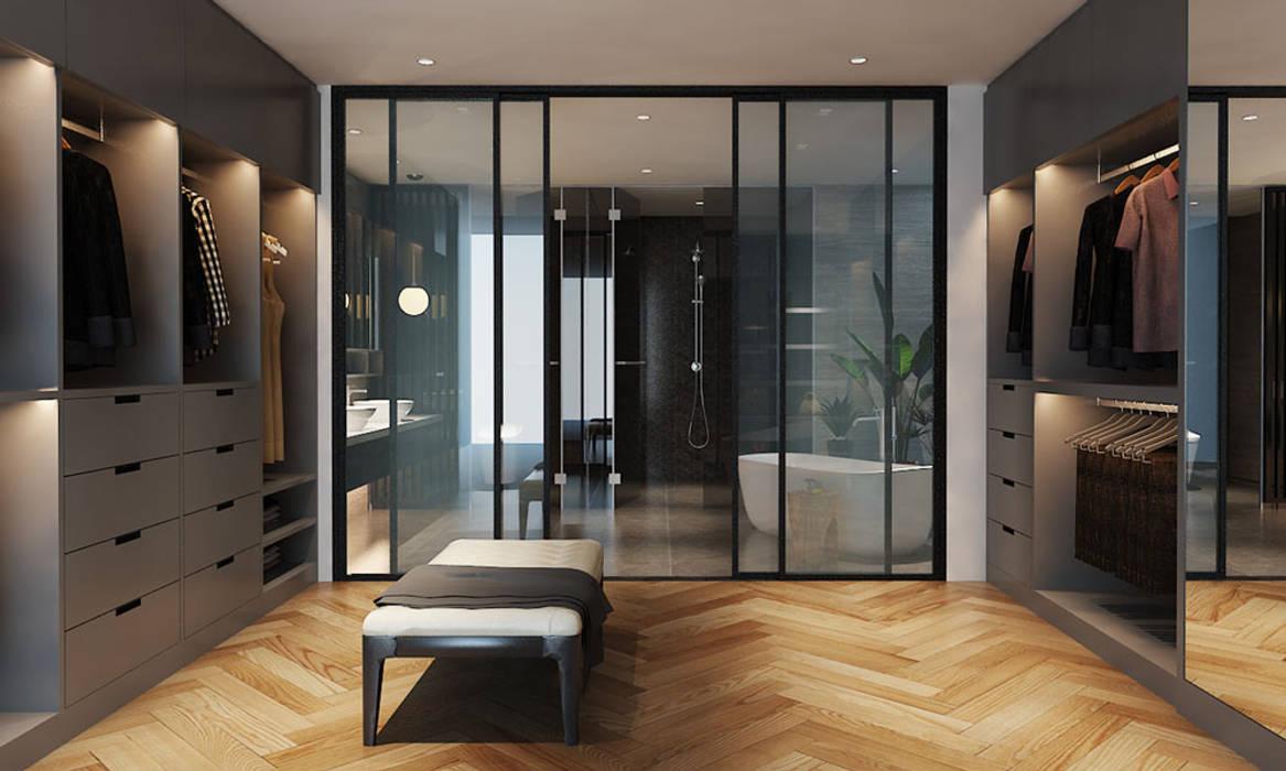 Thiết kế nội thất căn hộ Penthouse hiện đại Bluesky do CEEB Architects thiết kế. CÔNG TY THIẾT KẾ NHÀ ĐẸP SANG TRỌNG CEEB Phòng thay đồ phong cách hiện đại