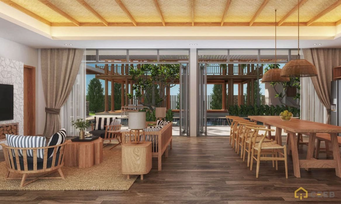 Thiết kế kiến trúc nội thất biệt thự nghỉ dưỡng BMH do CEEB Architects thiết kế. Phòng khách phong cách đồng quê bởi CÔNG TY THIẾT KẾ NHÀ ĐẸP SANG TRỌNG CEEB Đồng quê
