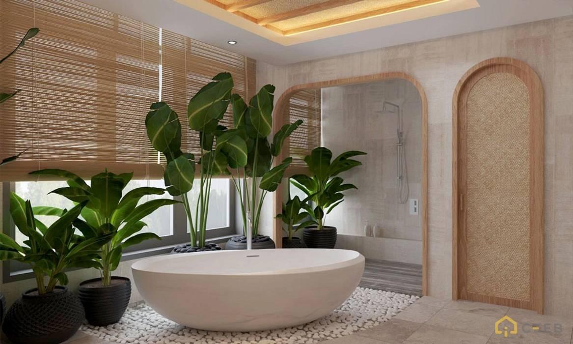 Thiết kế kiến trúc nội thất biệt thự nghỉ dưỡng BMH do CEEB Architects thiết kế. CÔNG TY THIẾT KẾ NHÀ ĐẸP SANG TRỌNG CEEB Phòng tắm phong cách đồng quê