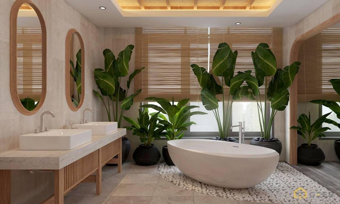 Thiết kế kiến trúc nội thất biệt thự nghỉ dưỡng BMH do CEEB Architects thiết kế. Phòng tắm phong cách đồng quê bởi CÔNG TY THIẾT KẾ NHÀ ĐẸP SANG TRỌNG CEEB Đồng quê