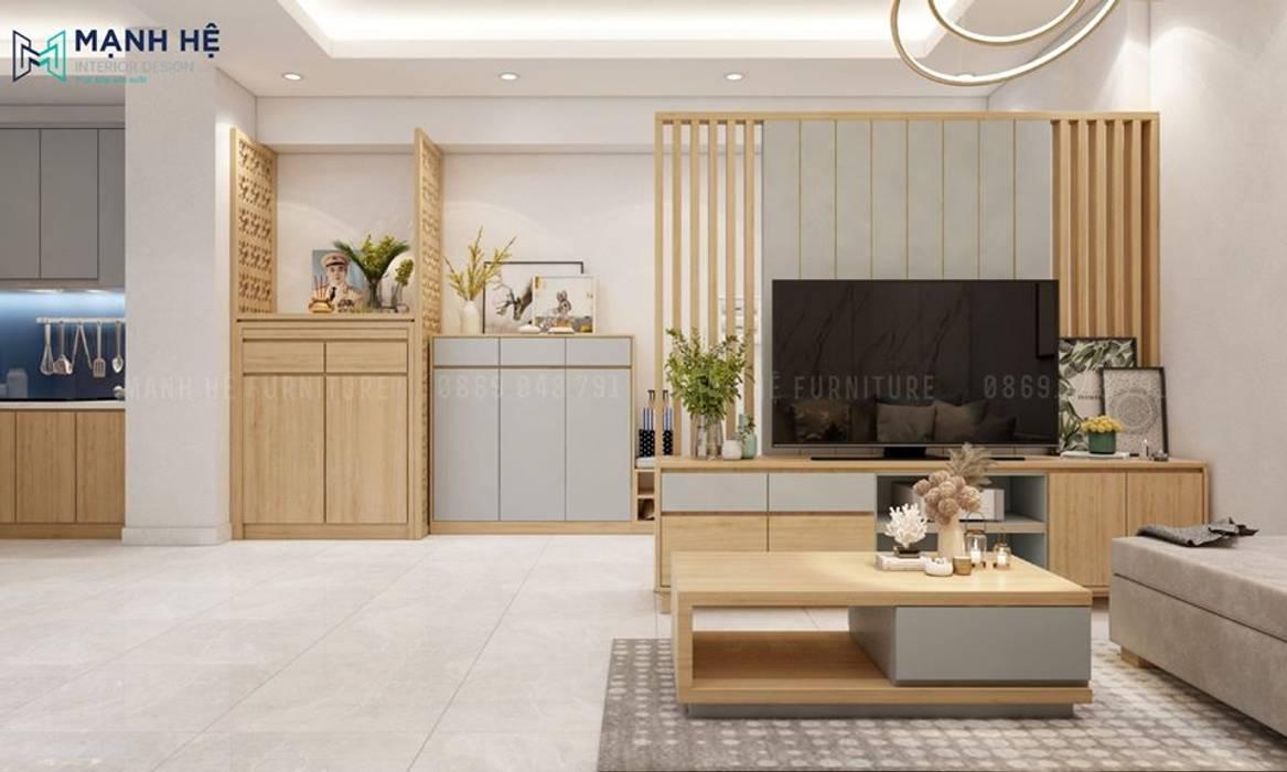 Kệ tivi sát sàn nhà bằng gỗ công nghiệp Melamine bởi Công ty TNHH Nội Thất Mạnh Hệ Hiện đại