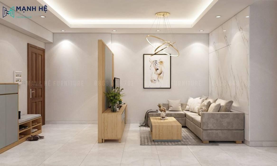 Vách ngăn gỗ phòng khách sau kệ tivi tạo sự ấm cúng, riêng biệt bởi Công ty TNHH Nội Thất Mạnh Hệ Hiện đại