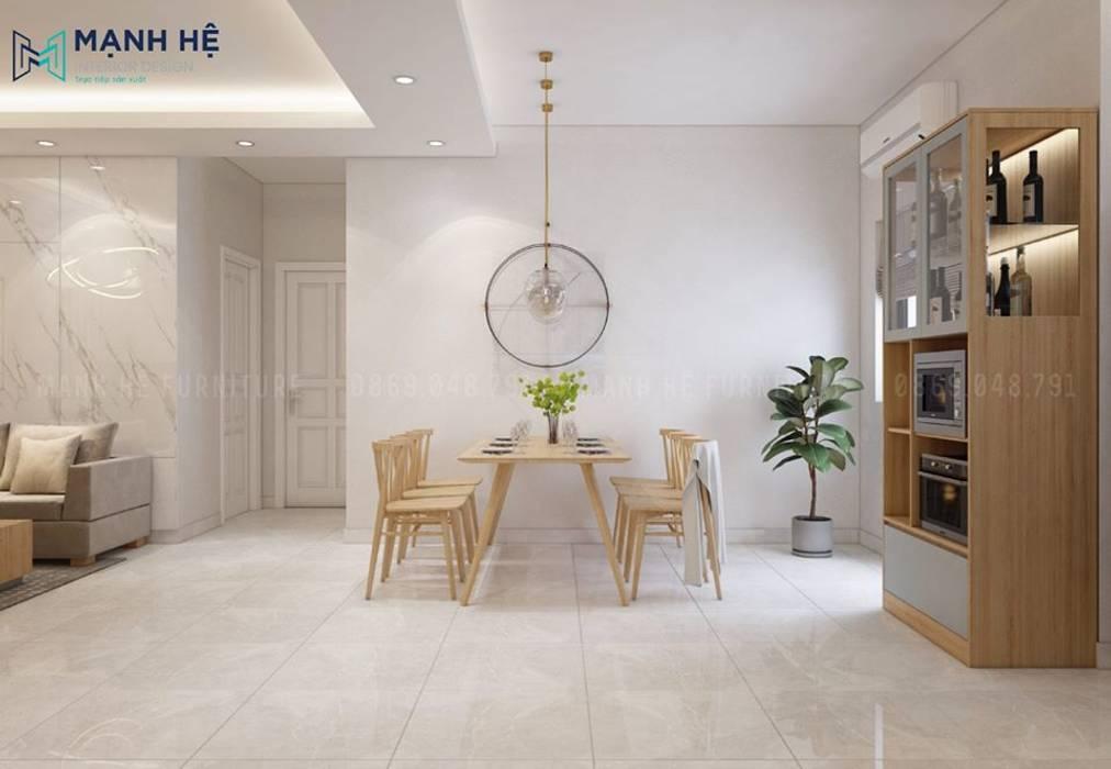 Bộ bàn ăn 6 ghế bằng gỗ được lựa chọn gam màu sáng hơn một chút so với tone màu chung bởi Công ty TNHH Nội Thất Mạnh Hệ Hiện đại
