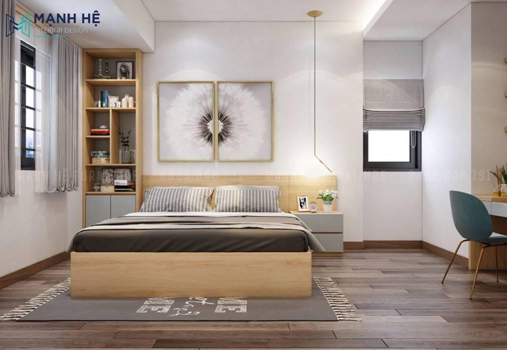 Vách ốp gỗ công nghiệp đầu giường liền tab đầu giường mini Công ty TNHH Nội Thất Mạnh Hệ Phòng ngủ nhỏ
