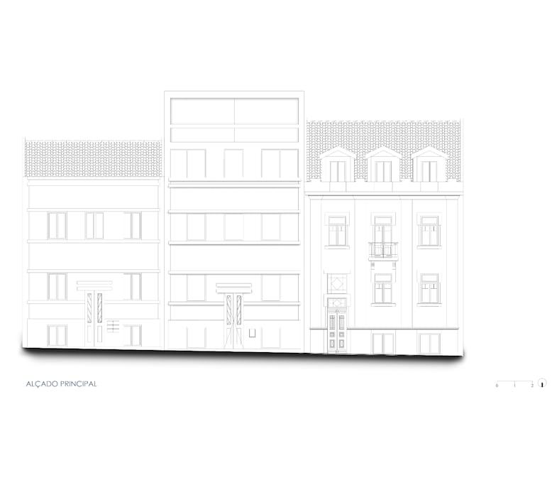 Proposta de alteração - Alçado da Rua Filipe da Mata Casas modernas por Nuno Ladeiro, Arquitetura e Design Moderno