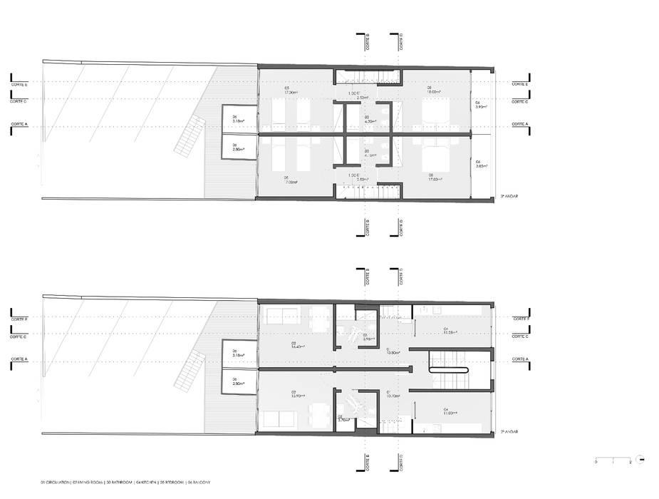 Planta do 1º e 2º piso dos duplexes por Nuno Ladeiro, Arquitetura e Design Moderno