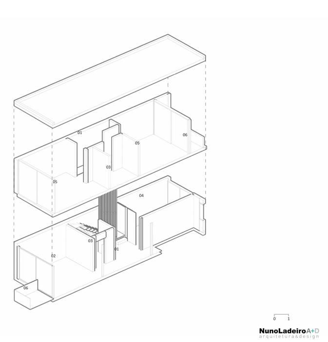 Axonometria do apartamento Duplex a construir sobre o edifício existente. por Nuno Ladeiro, Arquitetura e Design Moderno