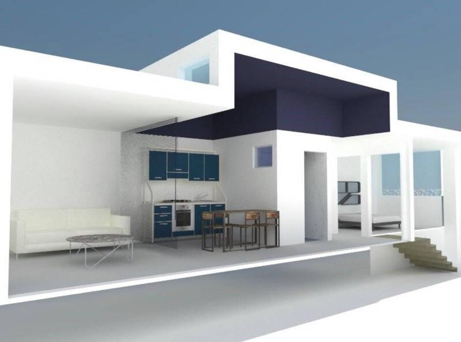 Perspetiva do interior de um apartamento Duplex Casas modernas por Nuno Ladeiro, Arquitetura e Design Moderno
