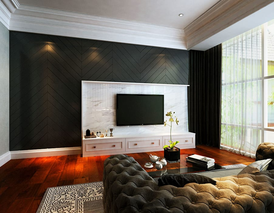 Modern Classical Master Bedroom Tv Area Classic style bedroom by Latitude Design Sdn Bhd Classic