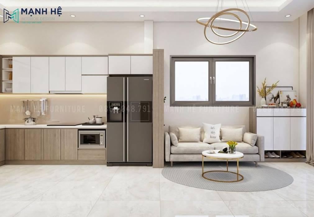 Thảm trải sàn tạo dấu ấn đặc trưng cho phòng khách hiện đại bởi Công ty TNHH Nội Thất Mạnh Hệ Hiện đại