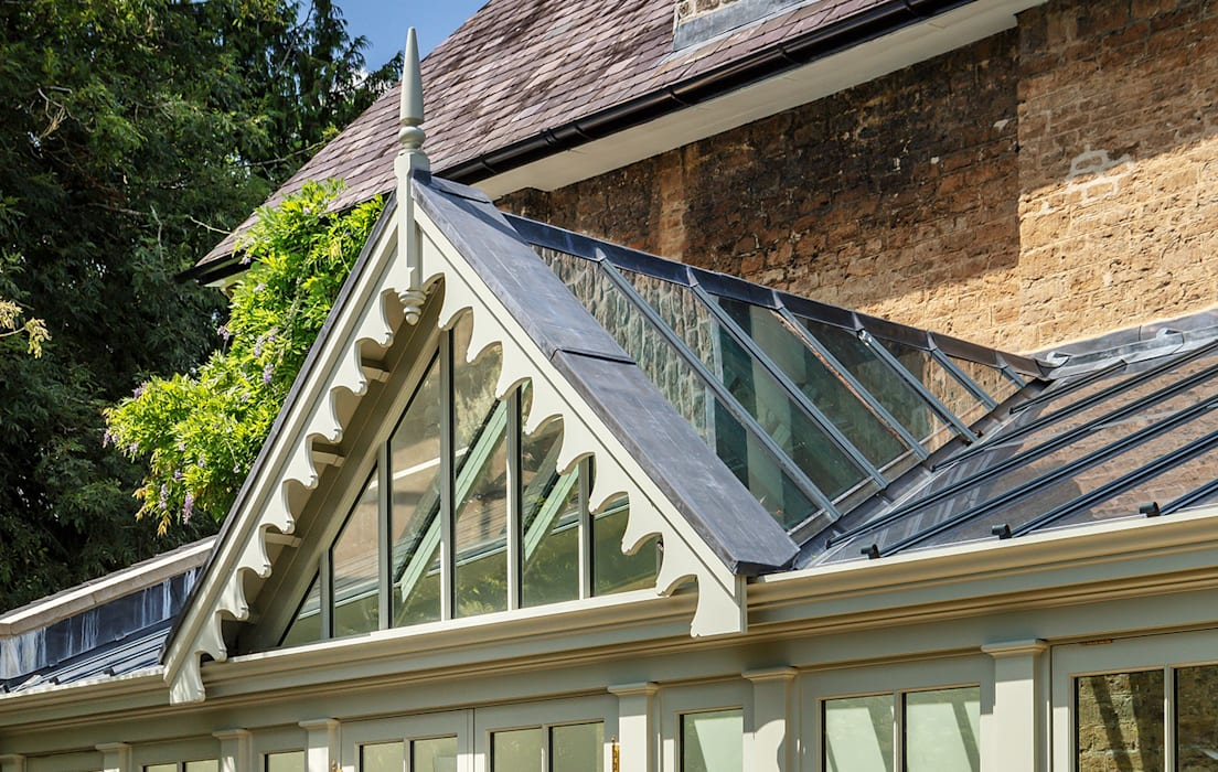Close up of conservatory gable end detail Vale Garden Houses Classic style conservatory Wood Green