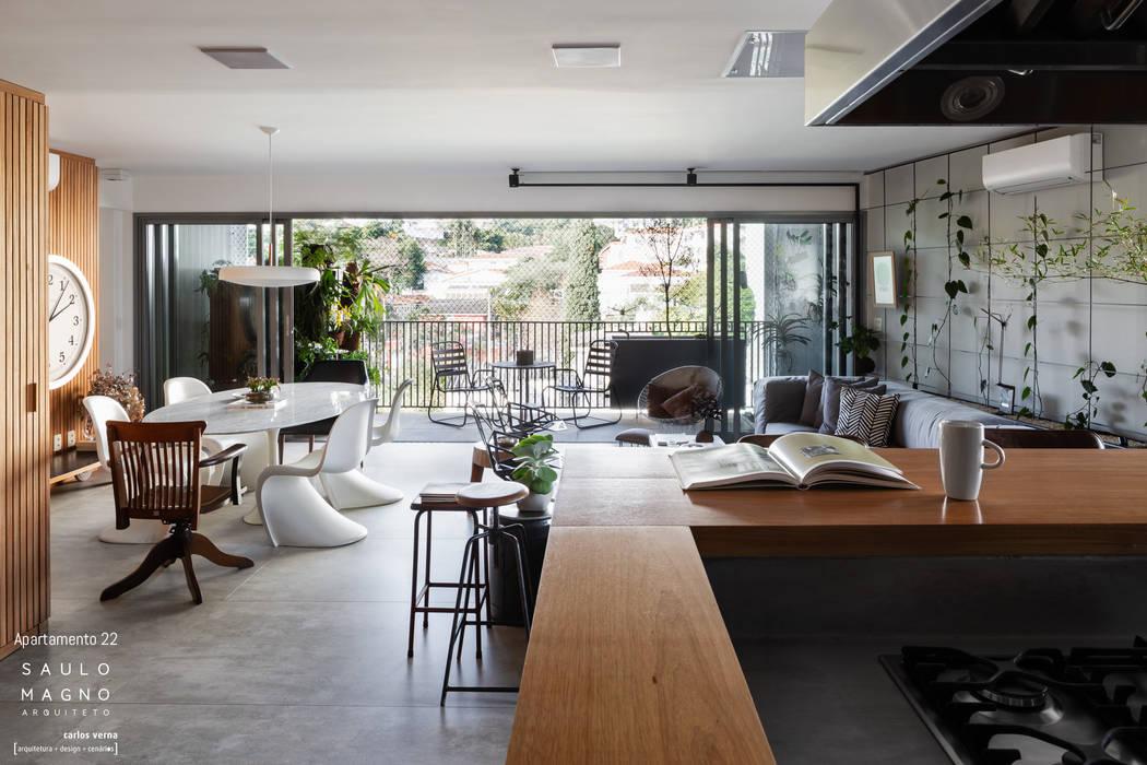 Minimalistische Wohnzimmer von Saulo Magno Arquiteto Minimalistisch Holz Holznachbildung