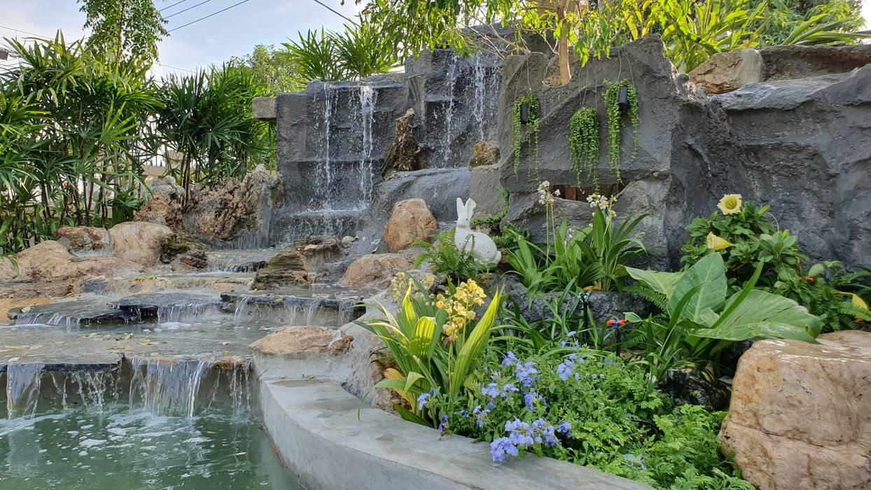 บ่อปลาคราฟ + น้ำตกธรรมชาติ Trimitcivil&engineering บ่อน้ำในสวน