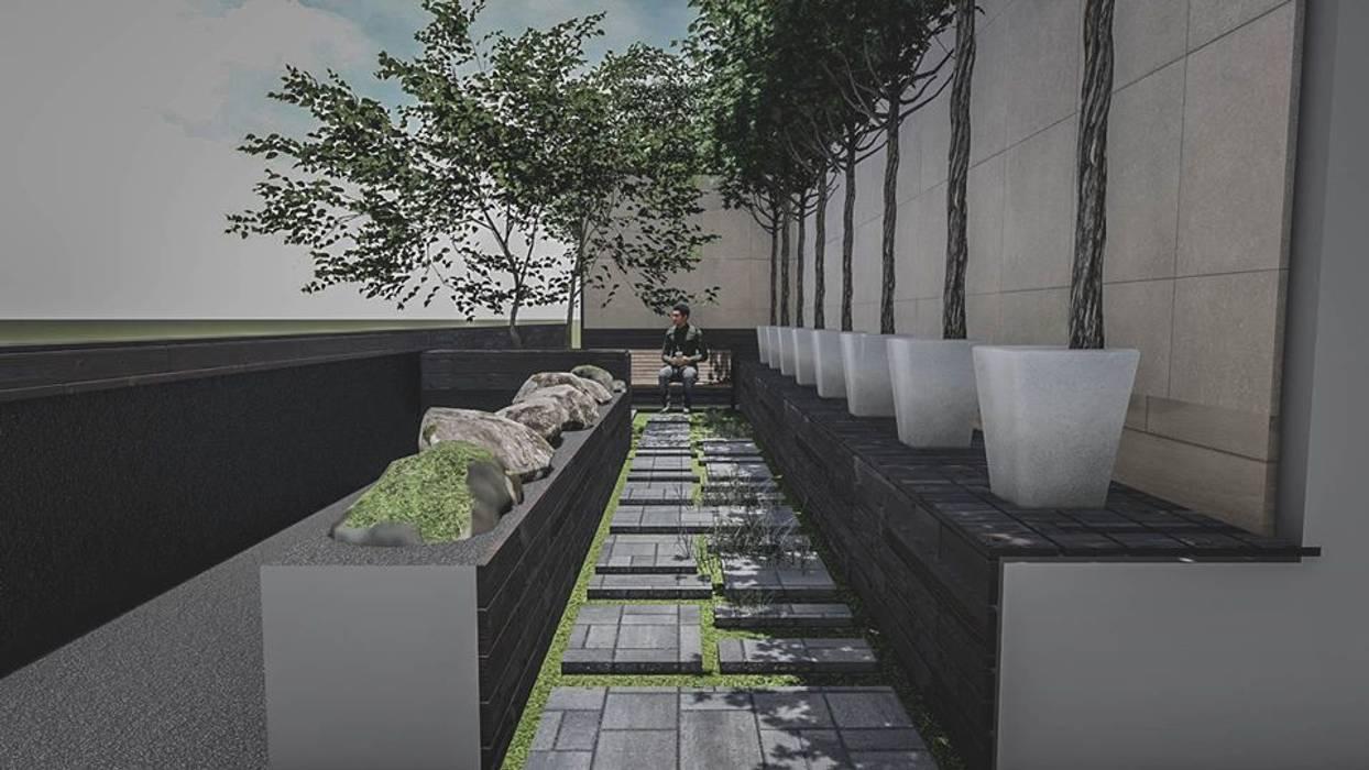 งานออกแบบสวนคุณนำพร วัชรพล โดย Trimitcivil&engineering โมเดิร์น