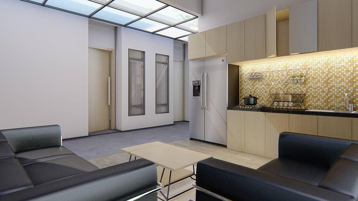 interior dapur bersama dan ruang santai Ruang Keluarga Gaya Industrial Oleh ARK-chitect studio Industrial