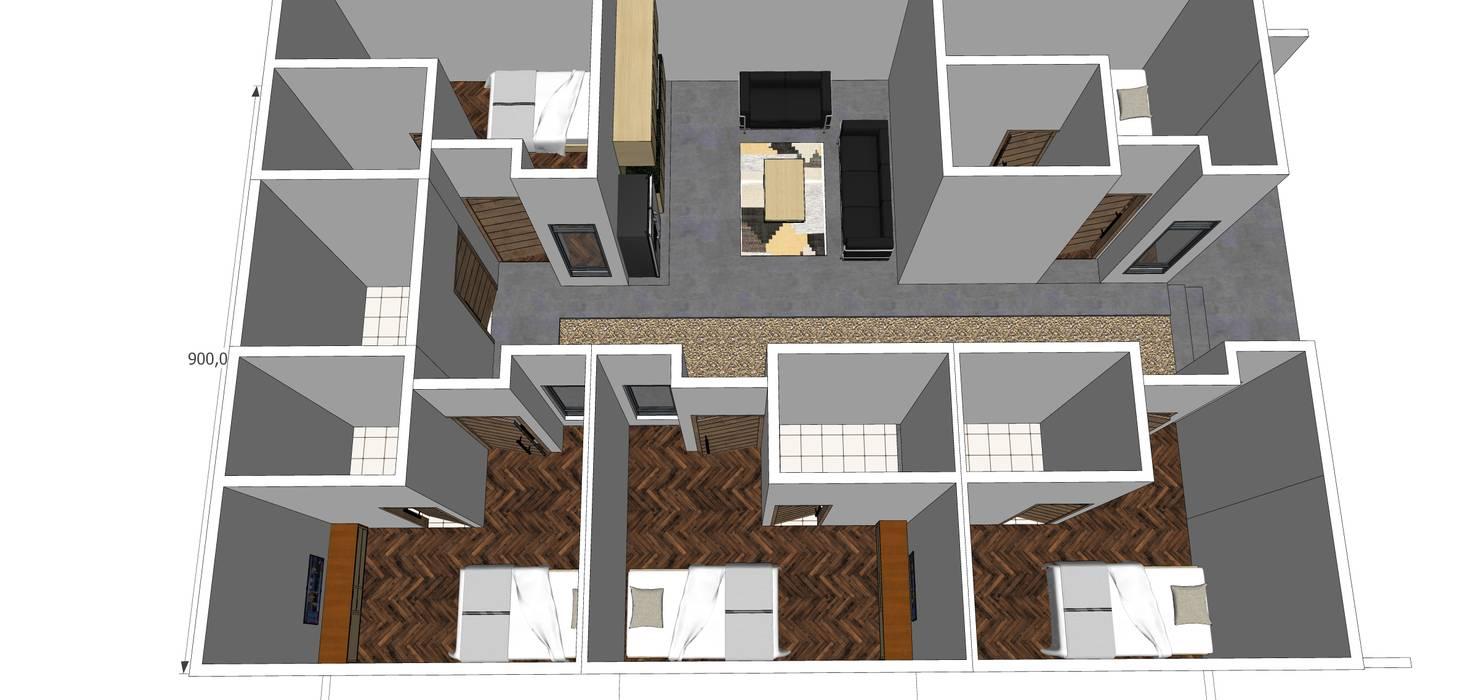 layout bangunan ARK-chitect studio Rumah Gaya Industrial