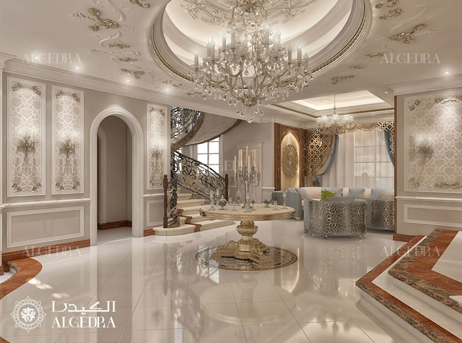 Entrance Hall interior for Classic Style Villa in Abu Dhabi Classic style corridor, hallway and stairs by Algedra Interior Design Classic