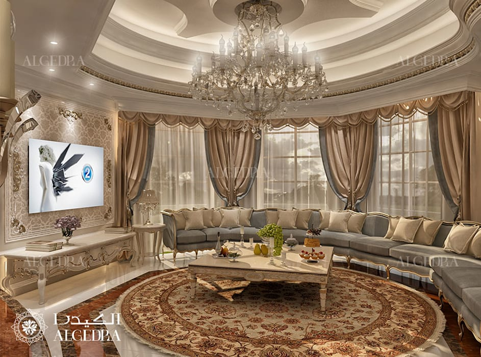 Living Room interior design for Luxury Classic Style Villa in Abu Dhabi by Algedra Interior Design Classic