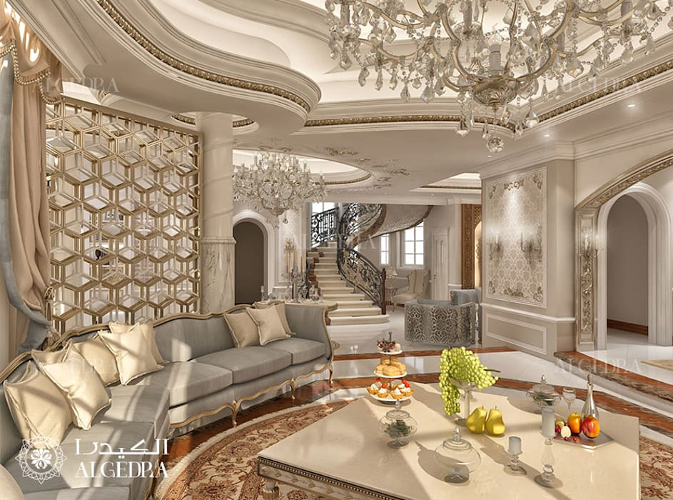 Majlis Living Room interior design for Luxury Classic Style Villa in Abu Dhabi Classic style living room by Algedra Interior Design Classic