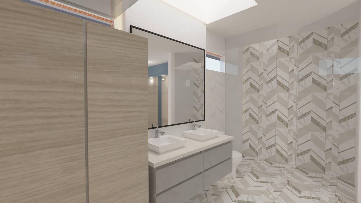 BAÑO ALCOBA PRINCIPAL Baños de estilo minimalista de Arquitecto Juan Zapata Minimalista