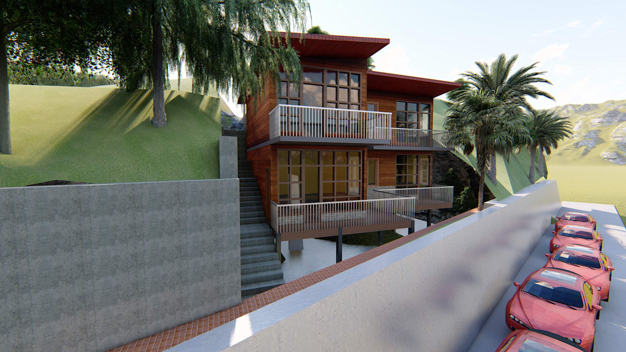 residence for rohit G.L.A.D STUDIO Country house MDF Wood effect