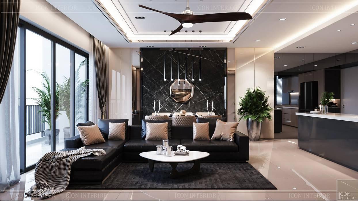 Phong cách hiện đại trong thiết kế nội thất căn hộ Palm Height ICON INTERIOR Phòng khách