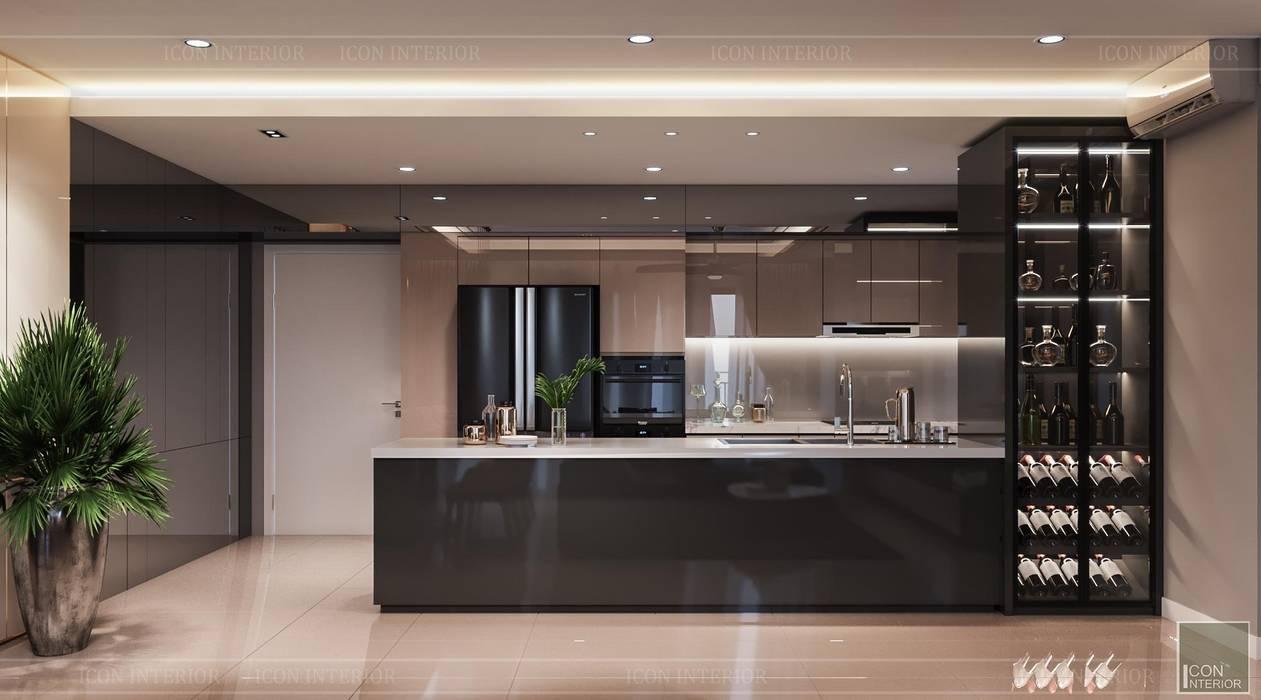 Phong cách hiện đại trong thiết kế nội thất căn hộ Palm Height Nhà bếp phong cách hiện đại bởi ICON INTERIOR Hiện đại
