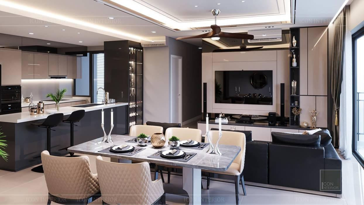 Phong cách hiện đại trong thiết kế nội thất căn hộ Palm Height ICON INTERIOR Phòng ăn phong cách hiện đại
