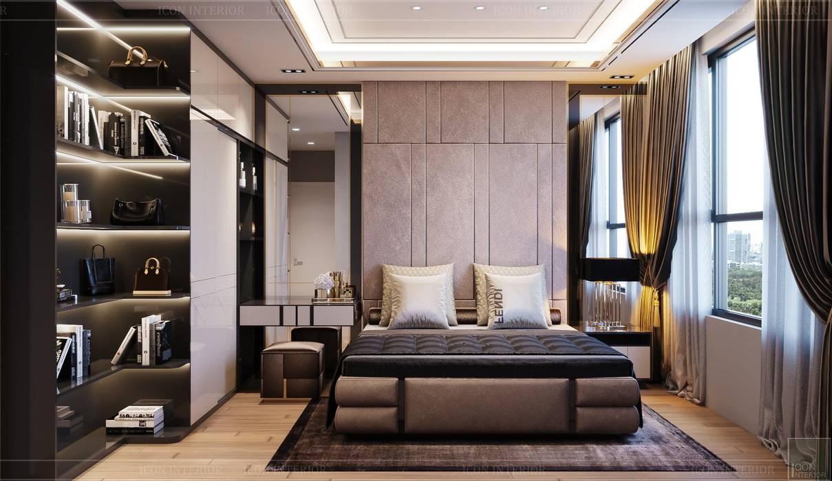 Phong cách hiện đại trong thiết kế nội thất căn hộ Palm Height Phòng ngủ phong cách hiện đại bởi ICON INTERIOR Hiện đại
