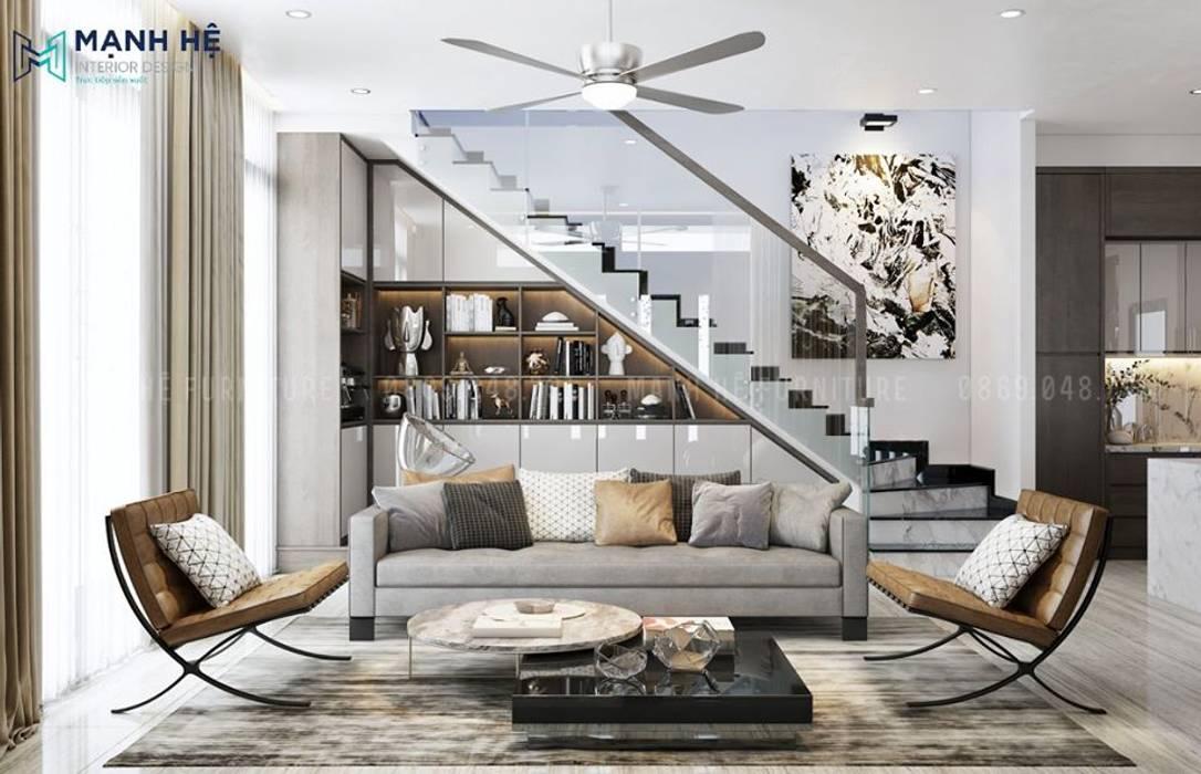 Chiếc ghế sofa dài bọc vải nhung quý phái Phòng khách phong cách Bắc Âu bởi Công ty TNHH Nội Thất Mạnh Hệ Bắc Âu