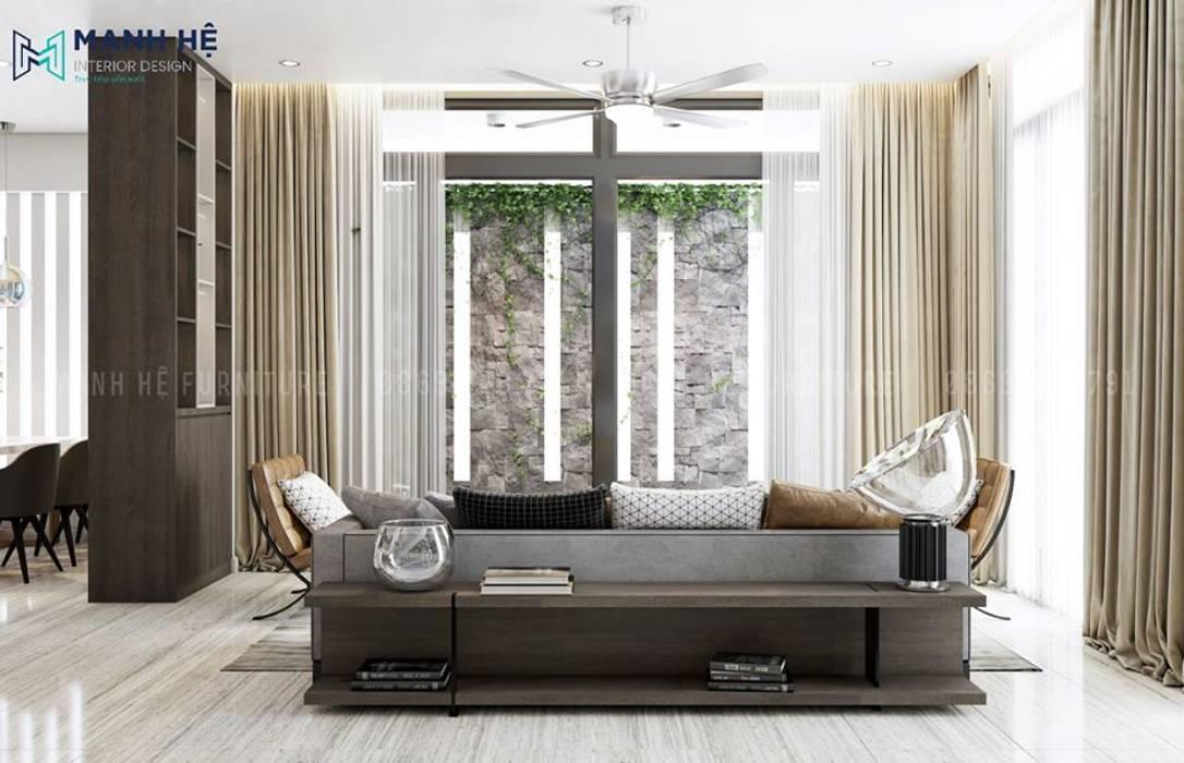 View phòng khách chính hướng ra sân vườn thư giãn, tinh thần thoải mái Công ty TNHH Nội Thất Mạnh Hệ Phòng khách phong cách Bắc Âu