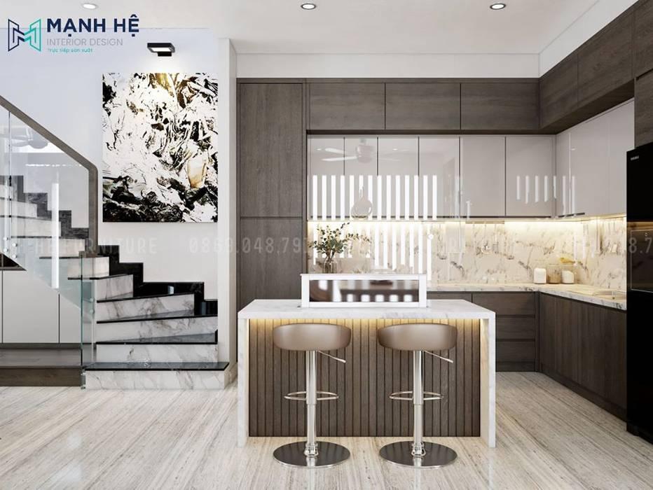 Hệ tủ bếp chữ L lớn cho nhà phố hoành tráng Phòng ăn phong cách Bắc Âu bởi Công ty TNHH Nội Thất Mạnh Hệ Bắc Âu