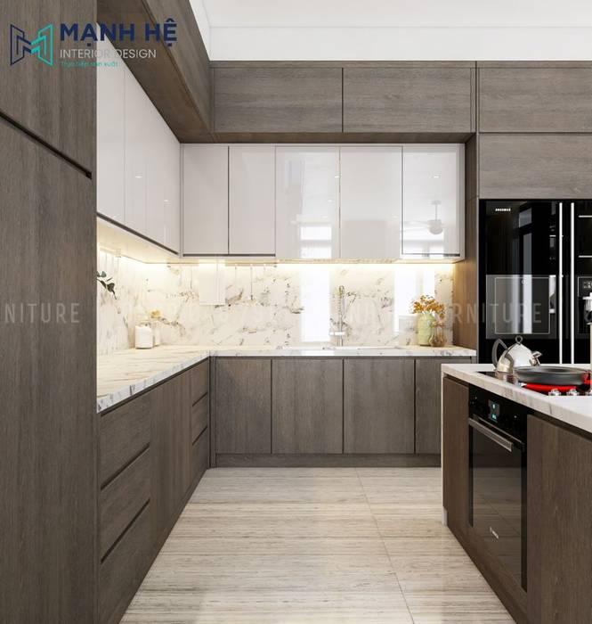 Tủ bếp dưới gỗ sồi Melamine cùng dàn tủ bếp trên MDF Acrylic bóng loáng Nhà bếp phong cách Bắc Âu bởi Công ty TNHH Nội Thất Mạnh Hệ Bắc Âu