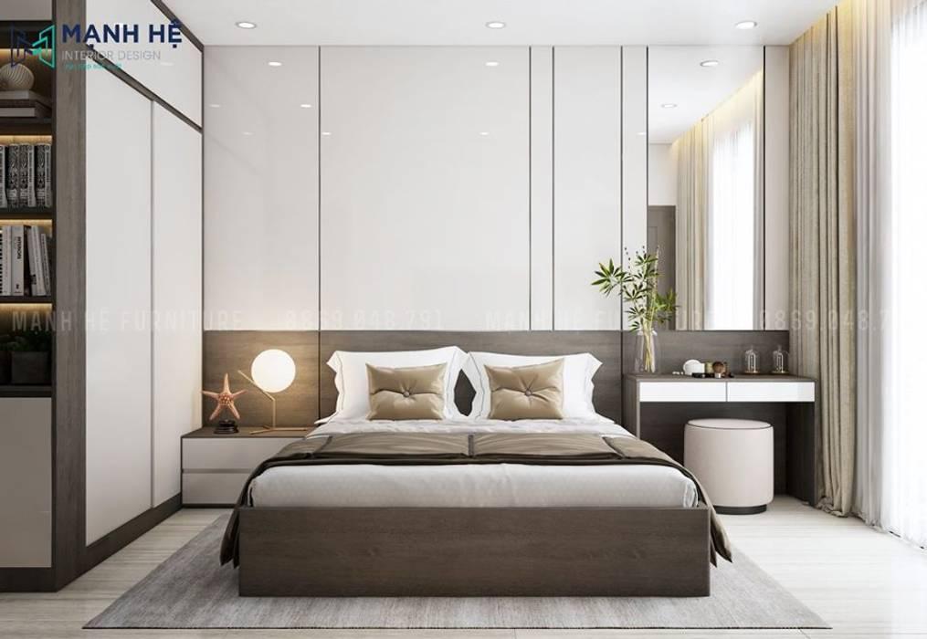 Vách ốp đầu giường Acrylic bóng gương Phòng ngủ phong cách Bắc Âu bởi Công ty TNHH Nội Thất Mạnh Hệ Bắc Âu