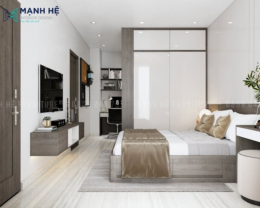Giường ngủ có hộc kéo đa năng tăng không gian chứa đồ Phòng ngủ phong cách Bắc Âu bởi Công ty TNHH Nội Thất Mạnh Hệ Bắc Âu