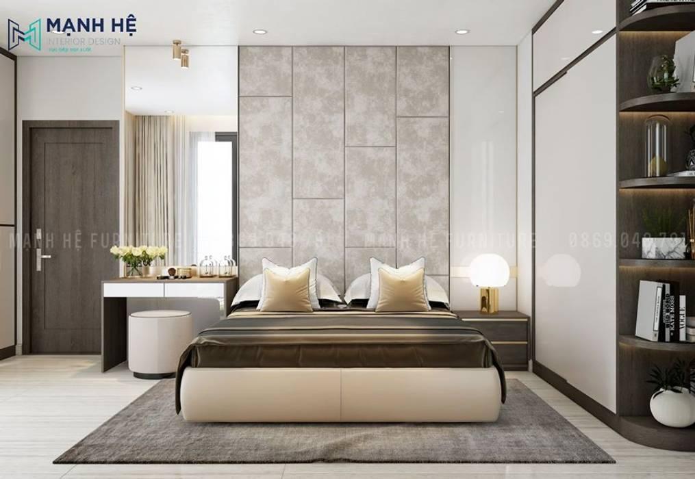 Ốp tường đầu giường bọc simili màu xám xi măng mộc mạc Phòng ngủ phong cách Bắc Âu bởi Công ty TNHH Nội Thất Mạnh Hệ Bắc Âu