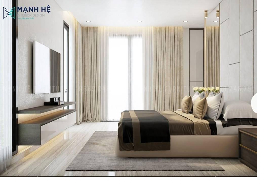 Thảm trải sàn lớn được đặt ngay trung tâm phòng tạo điểm nhấn đặc trưng cho phòng ngủ master bởi Công ty TNHH Nội Thất Mạnh Hệ Bắc Âu
