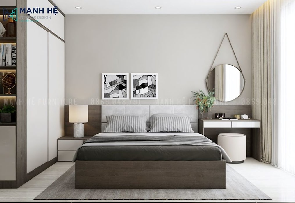 Đầu giường ngủ bọc nệm êm ái và quý phái Phòng ngủ phong cách Bắc Âu bởi Công ty TNHH Nội Thất Mạnh Hệ Bắc Âu