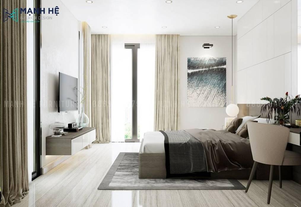 Cửa phụ ban công cho phòng ngủ tối ưu ánh sáng tự nhiên bởi Công ty TNHH Nội Thất Mạnh Hệ Bắc Âu