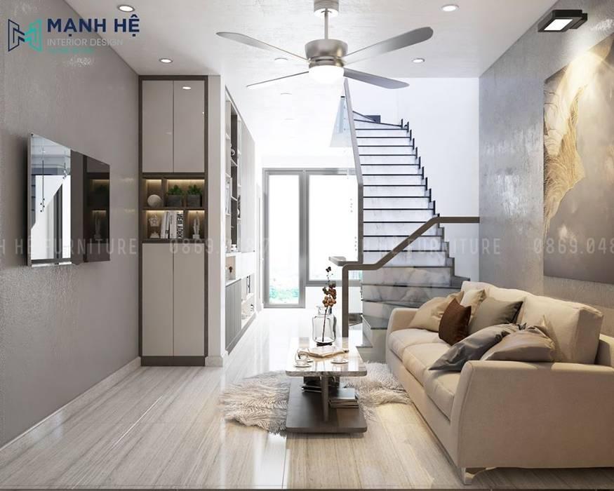 Cửa kính lớn tối đa ánh sáng cho khu sảnh thông thoáng Công ty TNHH Nội Thất Mạnh Hệ Phòng ngủ nhỏ