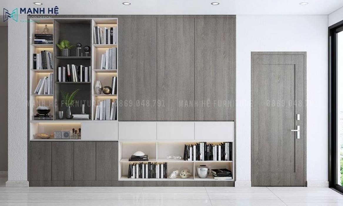Tủ sách âm tường gỗ sồi Melamine lớn tại sảnh lầu 2 Phòng khách phong cách Bắc Âu bởi Công ty TNHH Nội Thất Mạnh Hệ Bắc Âu