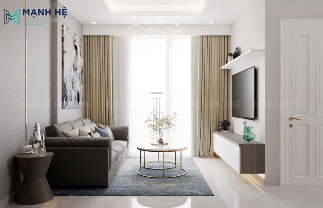 Kệ tivi treo tường gỗ công nghiệp Melamine giúp không gian phòng khách rộng rãi hơn bởi Công ty TNHH Nội Thất Mạnh Hệ Hiện đại