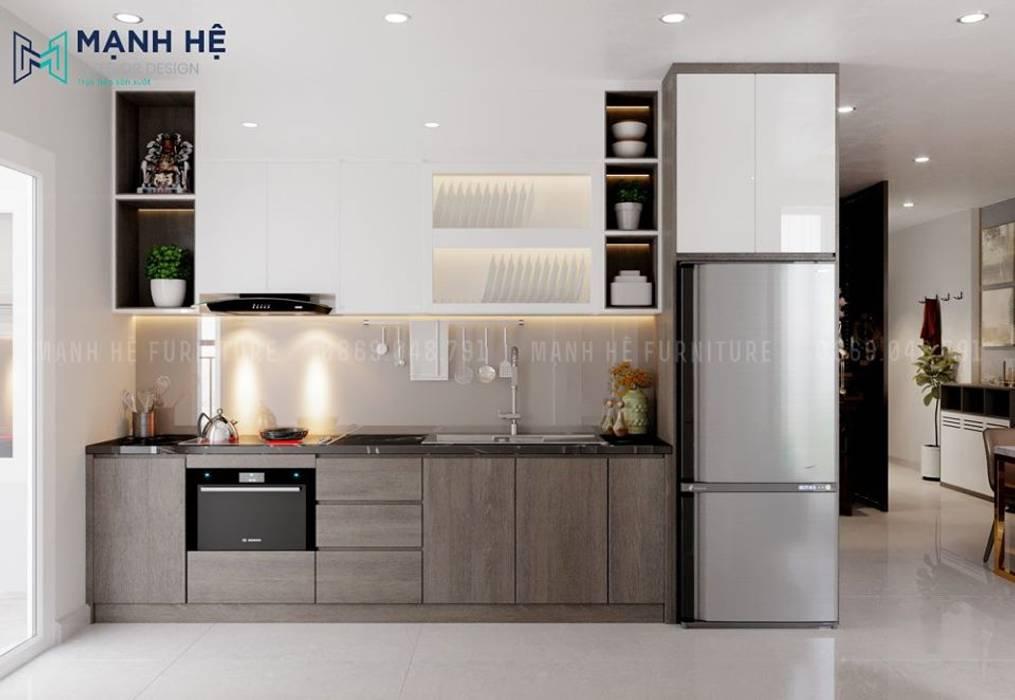 Tủ bếp gỗ công nghiệp có ngăn chứa tủ lạnh gọn gàng Công ty TNHH Nội Thất Mạnh Hệ Nhà bếp phong cách hiện đại