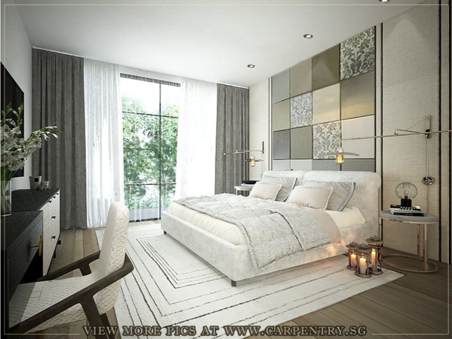 Master Bedroom Singapore Carpentry Interior Design Pte Ltd Scandinavian style bedroom Stone Grey